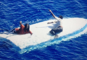 Coast Guard rescues 2 men drifting at sea for 8 days on capsized boat