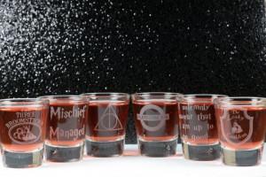 Harry Potter Inspired set of 6 Whiskey Shot glasses by GlassBlastedArt ...