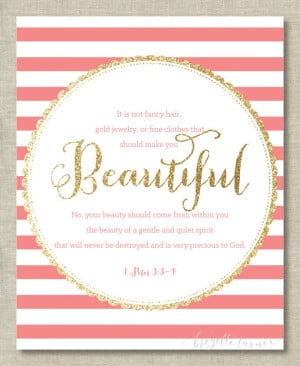 Quotes › Bible Verse Wall Art Print   Girls   It is not fancy hair ...