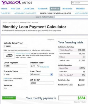 yahoo car loan calculator quotes Other