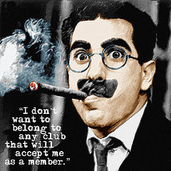 American Popular Culture Paintings - Groucho Marx And Quote Square by ...