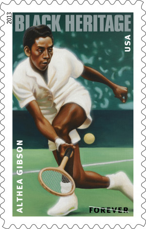 Forever stamp of Althea Gibson, designed by Derry Noyes from a ...