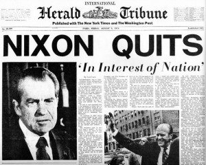 Richard Nixon (37th President of the US - 1969 to 1974) resigns the ...