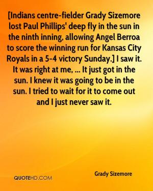Indians centre-fielder Grady Sizemore lost Paul Phillips' deep fly in ...