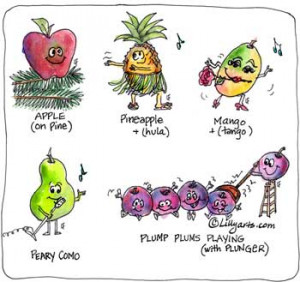 cute funny sayings by cartoon fruits apple pineapple mango pear plums