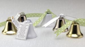 Silver Kissing Bells Wedding Favors