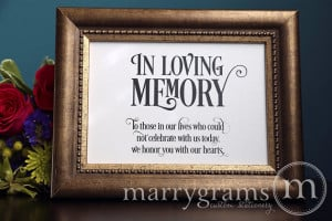 In Loving Memory Sign Table Card - Wedding Reception Seating Signage ...
