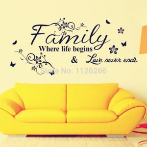 Wall Sticker Quotes Family Where Life Begins and Love Never Ends Vinyl ...