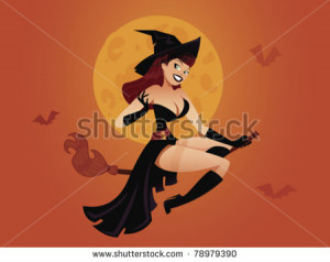 Sexy pinup witch flying on a broomstick - stock vector