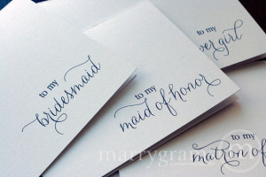 ... of Honor, Flower Girl Thank You Note Card Set - Bridal Party Note CS01