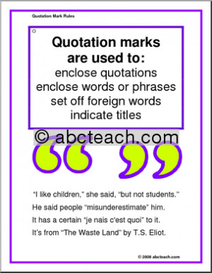Punctuation Poster Quotation Rules Multi Age Preview 1 picture