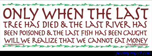 Only When the Last Fish Has Died Small Bumper Sticker