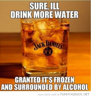 drink more water granted it's frozen surrounded by alcohol whiskey ...