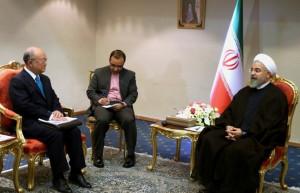 Yukiya Amano at the start of their meeting in Tehran Iran Thursday