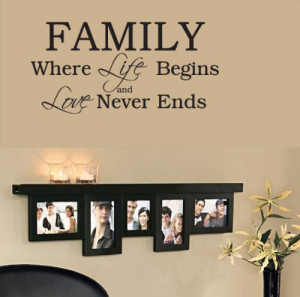 Family Wall Decals: Family Where Life Begins and Love Never Ends ...