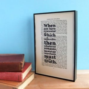 Sherlock Holmes Impossible Quote on Vintage Book von wallenvyart, £22 ...