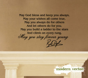 Details about Bob Dylan Stay Forever Young Vinyl Wall Quote Decal