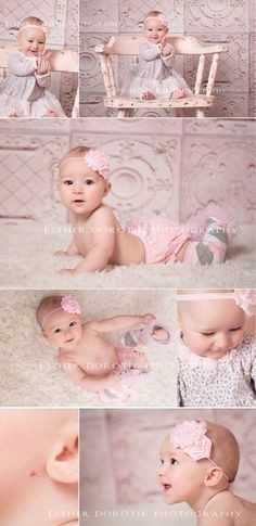 month old photography, baby girl, baby photography, pink antique ...
