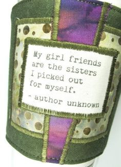 Coffee Cup Cozy Girl friends and Sisters Quote by CreamNoSugar GIFT ...