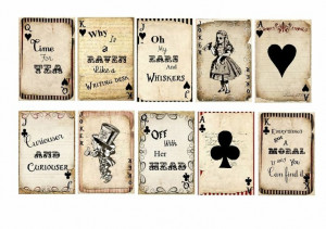 10 Vintage Alice in Wonderland Quote Playing Cards Gift Tags/Toppers