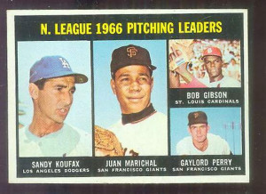 1967 Topps #236 N.L. Pitching Leaders [#a] (Bob Gibson, Sandy Koufax ...
