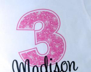 Happy 3rd Birthday Girl Quotes Third birthday shirt, pink 3