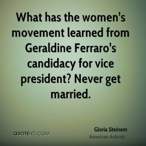 What has the women's movement learned from Geraldine Ferraro's ...