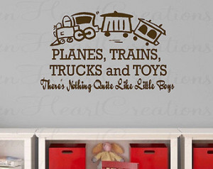 boy wall decal planes trains truc ks and toys wall decal boy baby ...