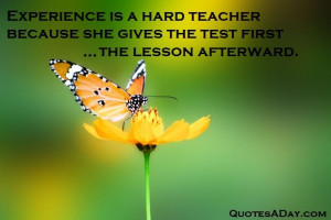Experience Is A Hard Teacher. Because She Gives The Test First.
