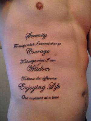 Rib Tattoo Serenity Prayer
