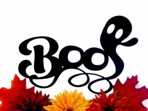 Boo Ghost Halloween Metal Sign - Black, 15.5x9.5, Halloween Decoration ...