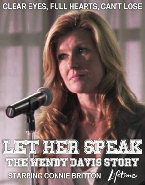 Poster shows Connie Britton speaking at a microphone. Tex reads: Clear ...