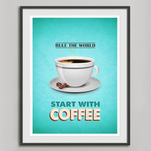 Retro Coffee Poster A3, Kitchen Art, Typography Coffee Quote Vintage ...