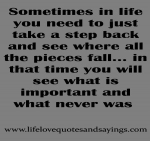 Sometimes Life You Need Just Take Step Back Love Quotes And