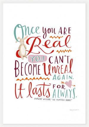 The Velveteen Rabbit Quote 11x14 Print by Emily McDowell.