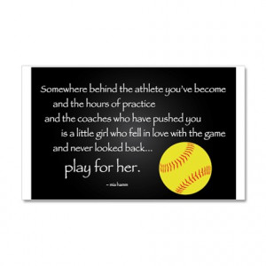 ... Gifts > Athlete Wall Decals > Play for her-college softball Wall Decal