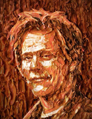 Kevin Bacon made from bacon funny art