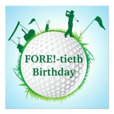 Men's Golfing 40th Birthday Invitation More
