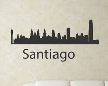 Slap-Art™Santiago Chile city skylin e Vinyl Wall Art Decal Sticker ...
