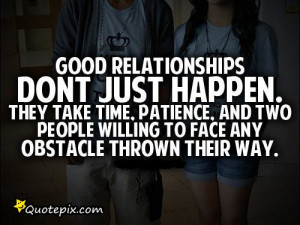 Good Relationships Don't Just Happen.. They Take Time, Patience..