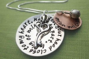 New Mommy Necklace - Dumbo Quote with Baby's Name and Key Charm ...