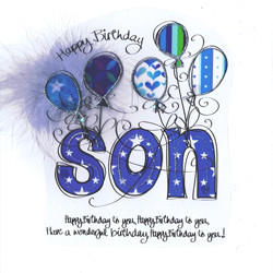 Son Birthday Card - Happy Jackson - Son Awesome One