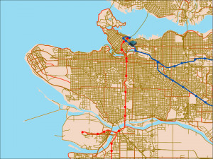 Vancouver Canada Line Route Map