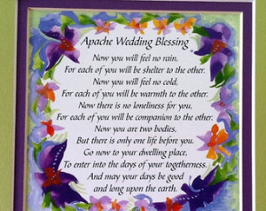 APACHE WEDDING BLESSING 8x8 Inspira tional Quote Bride Groom Family ...