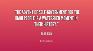 The advent of self-government for the Iraqi people is a watershed ...