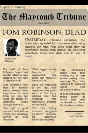 ... Tom Robinson's death.: Tom Robinson, Robinson Death, Newspaper Tom