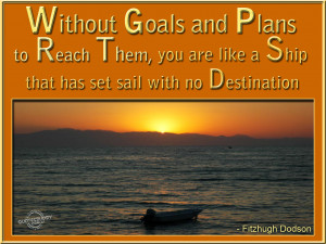 ... You are like a Ship that has set sail with no Destination ~ Goal Quote