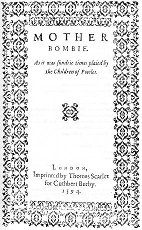 Title-page of Mother Bombie (1594)