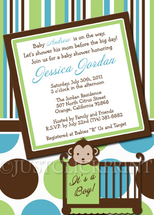 Mod Monkey Boys Green Teal Baby Shower Invitation Printable