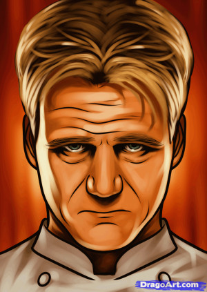 how to draw gordon ramsay, hells kitchen
